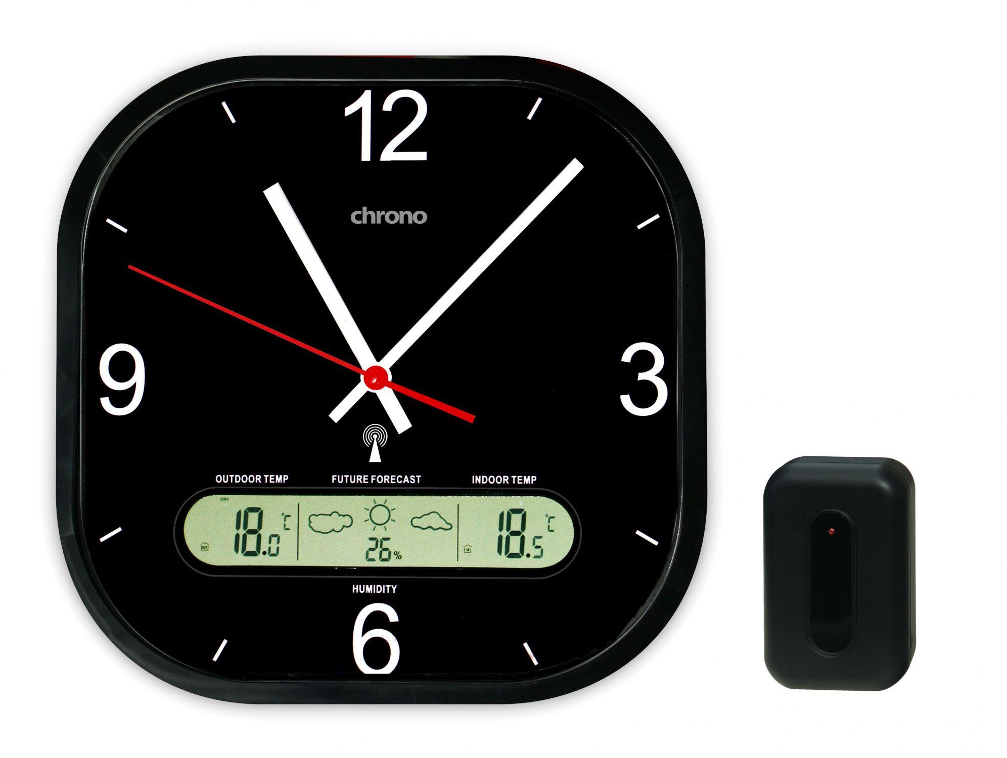 Zegar ścienny Z Dcf Termometrem Higrometrem I Pogodynką